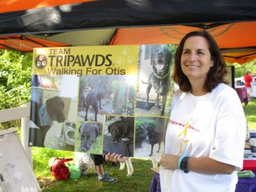 Christine, with Angel Otis' banner for the walk. Photo: Michelle Doner.
